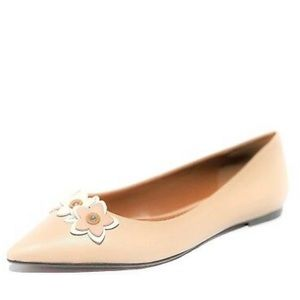 Coach floral applique pointed leather flat